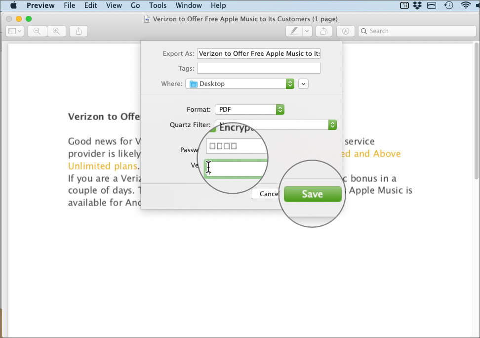 Enter the Password to PDF File and Click Save on Mac