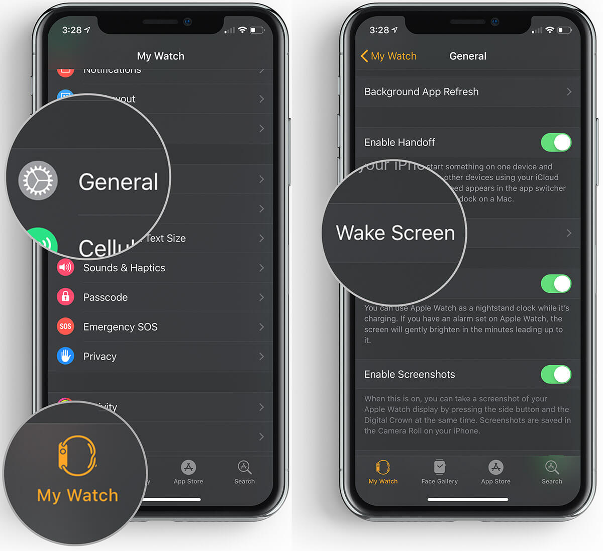 Tap on General then Wake Screen in Apple Watch App on iPhone