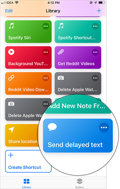 Tap on Send delayed text in Shortcuts APp
