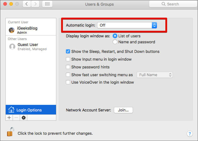 Disable Automatic Login on Mac
