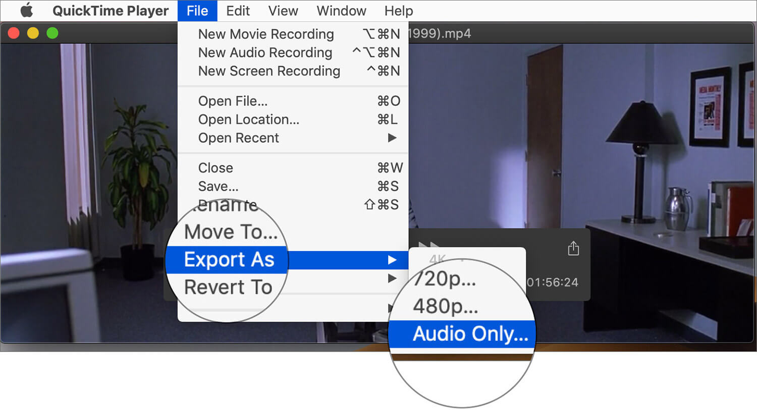Click on Export As and Select Audio Only in Mac QuickTime Player