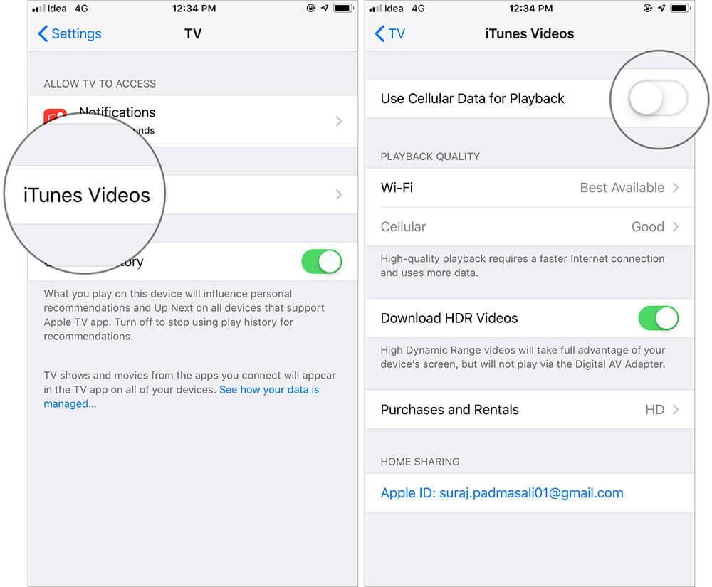 Do Not Use Cellular Data for Video Playback on iPhone