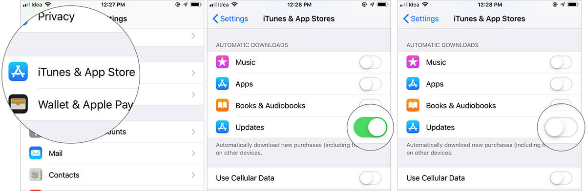 Turn off Automatic App Updates on iPhone