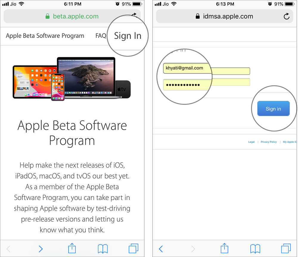 Sign in with your Apple ID in Apple Beta Program