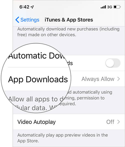 Tap on App Downloads Under iTunes and App Store in iOS 13 Settings