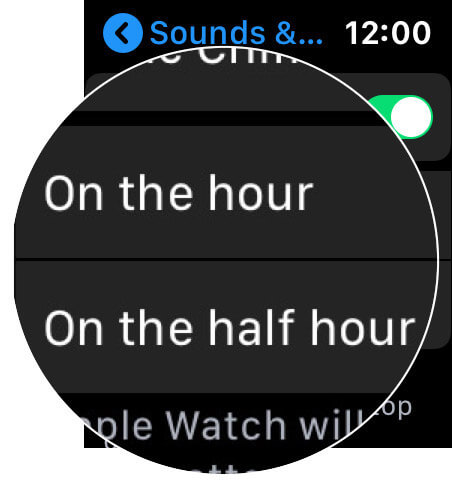 Choose Convenient Option in Taptic Chimes on Apple Watch