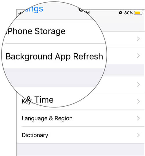 Tap on Background App Refresh in iPhone Settings