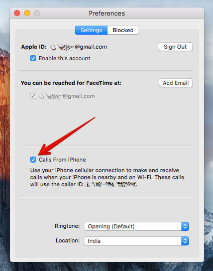 Click box which is next to Calls from iPhone in Mac FaceTime Preferences Settings