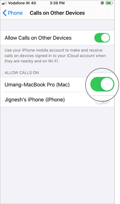 Enable Call Relay on iPhone