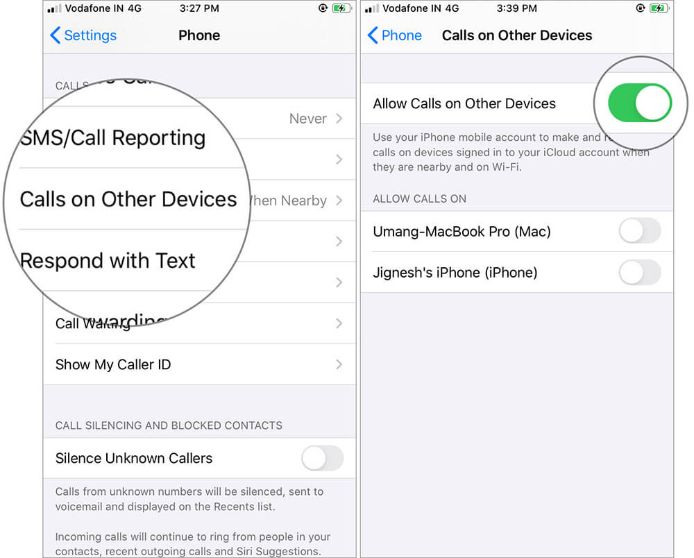 Tap on Calls on Other Devices and then toggle ON Allow Calls on Other Devices on iPhone