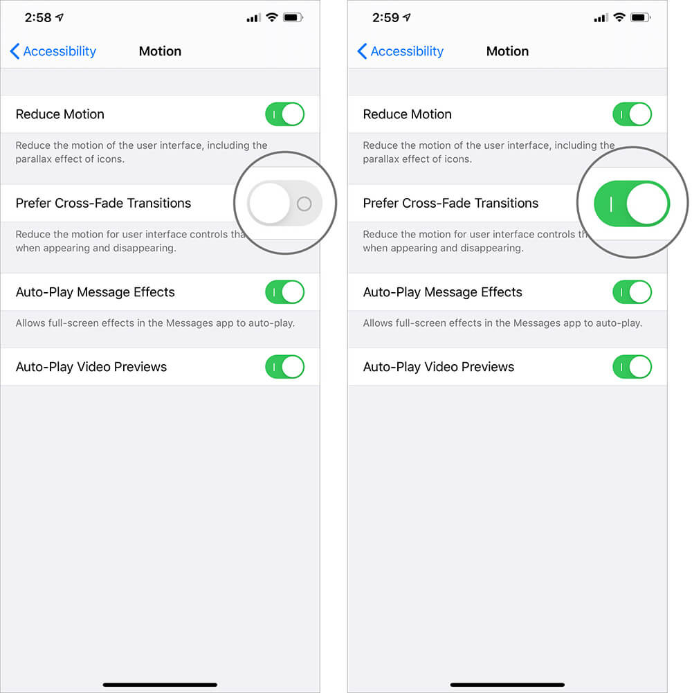 Turn ON Prefer Cross-Fade Transitions in Reduce Motion to Improve Battery Life of iPhone