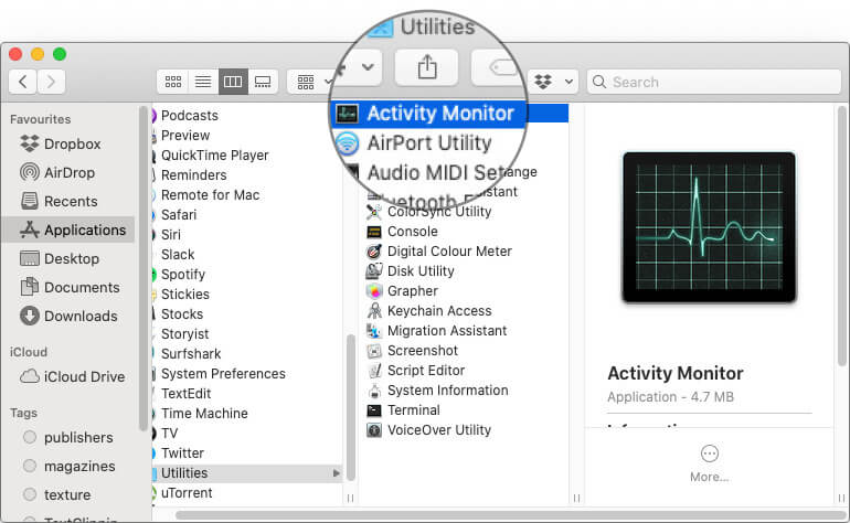 Click Activity Monitor App in macOS Catalina Finder on Mac