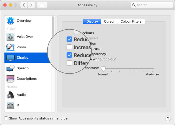 Click to Check Reduce Motion and Reduce Transparency Option in System Preferences on Mac