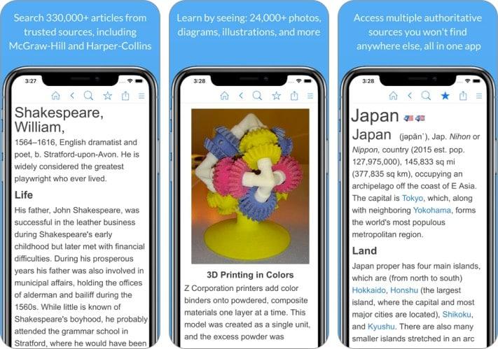 Enzyklopädie iPhone und iPad App zum Lernen der Geschichte