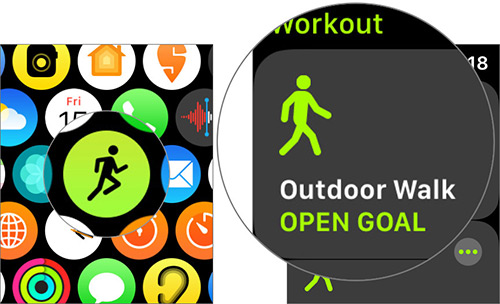 Launch Workout app and tap on Outdoor Walk on Apple Watch