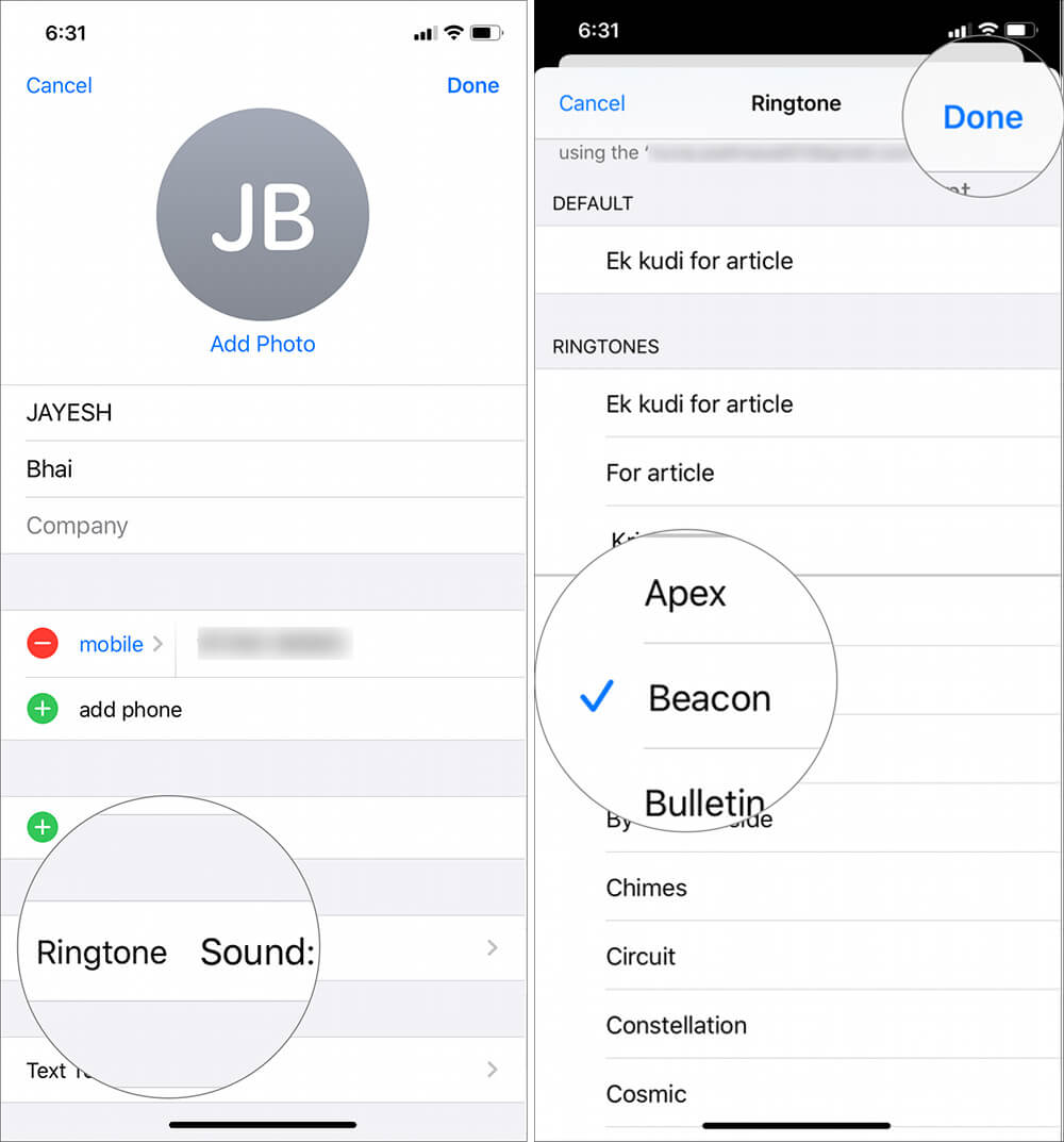 Now tap on Ringtone and select any stock ringtone on iPhone