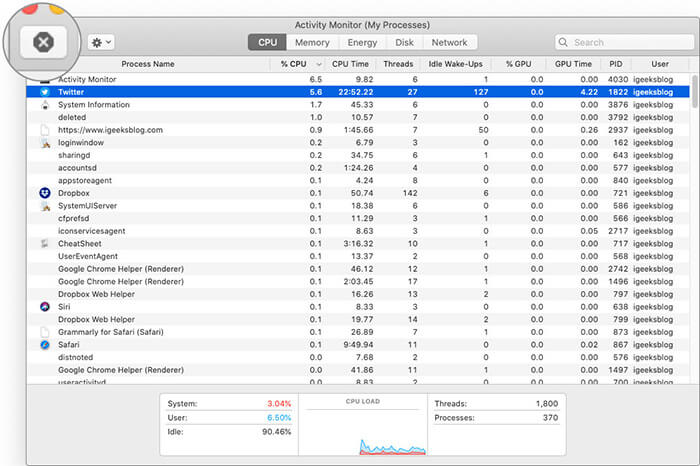 Select App Application and Click on X to Close App from Activity Monitor App on Mac