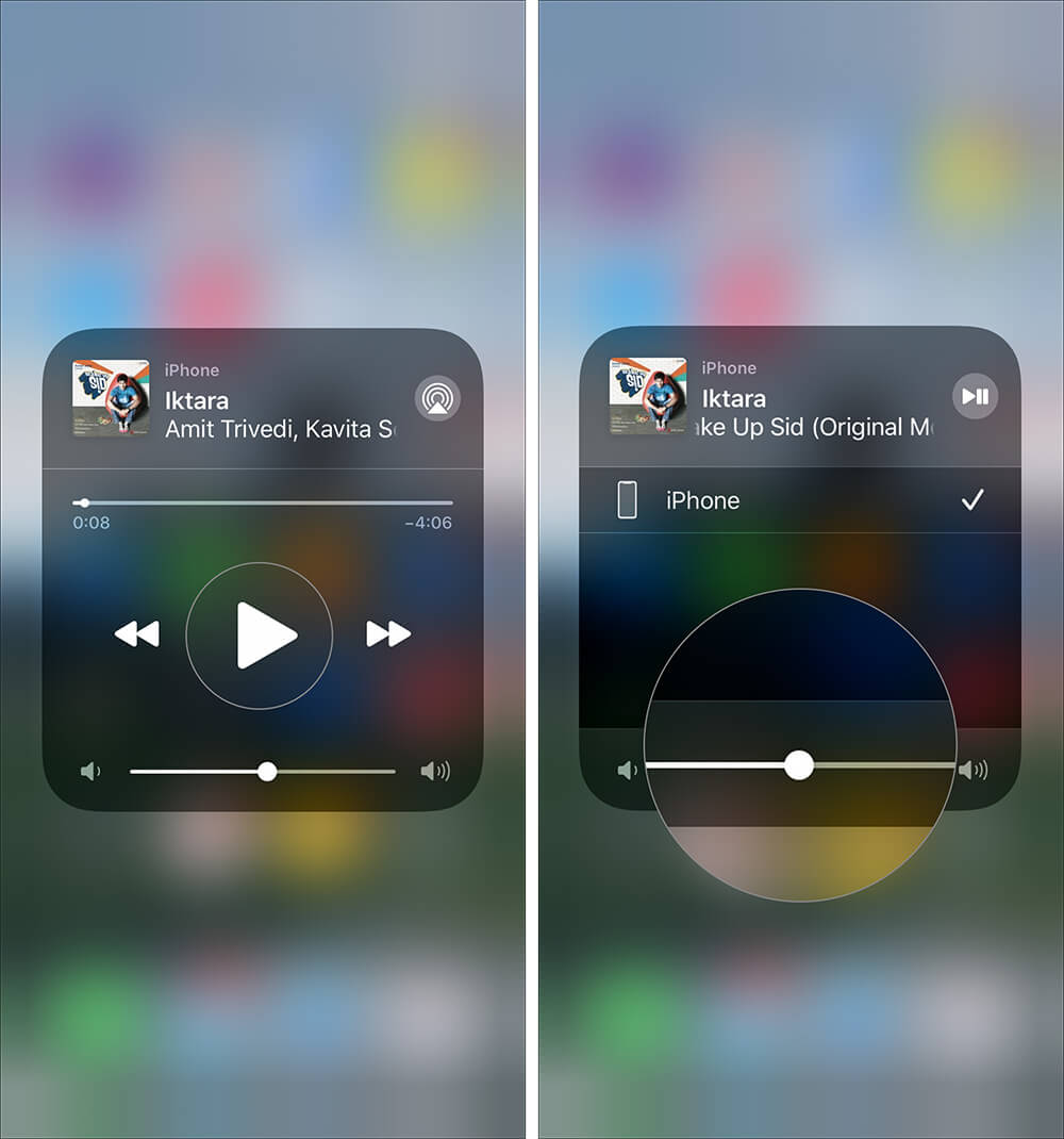 Tap on AirPlay icon to play selected music on iPhone
