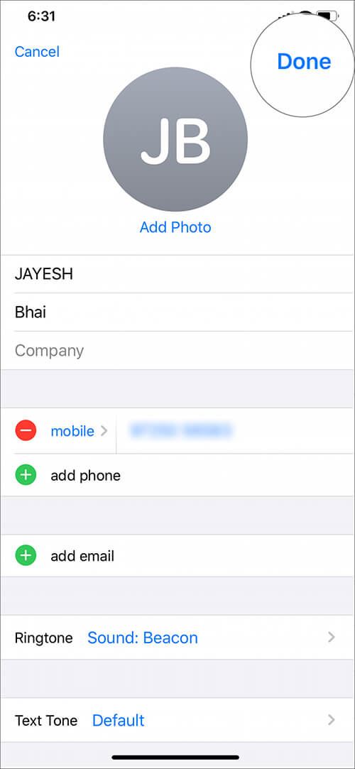 Tap on Done to select person name nique ringtone