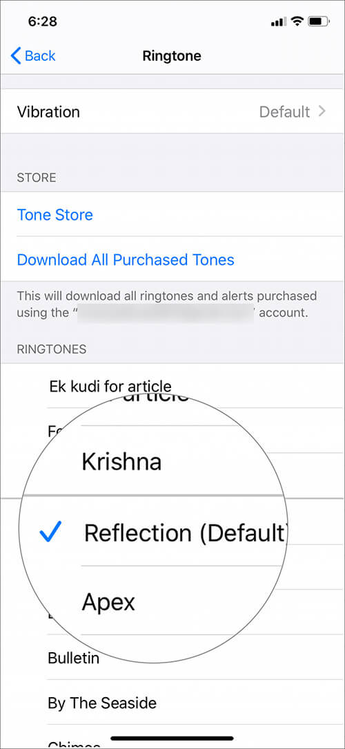 Tap on in-built Apple ringtone on iPhone