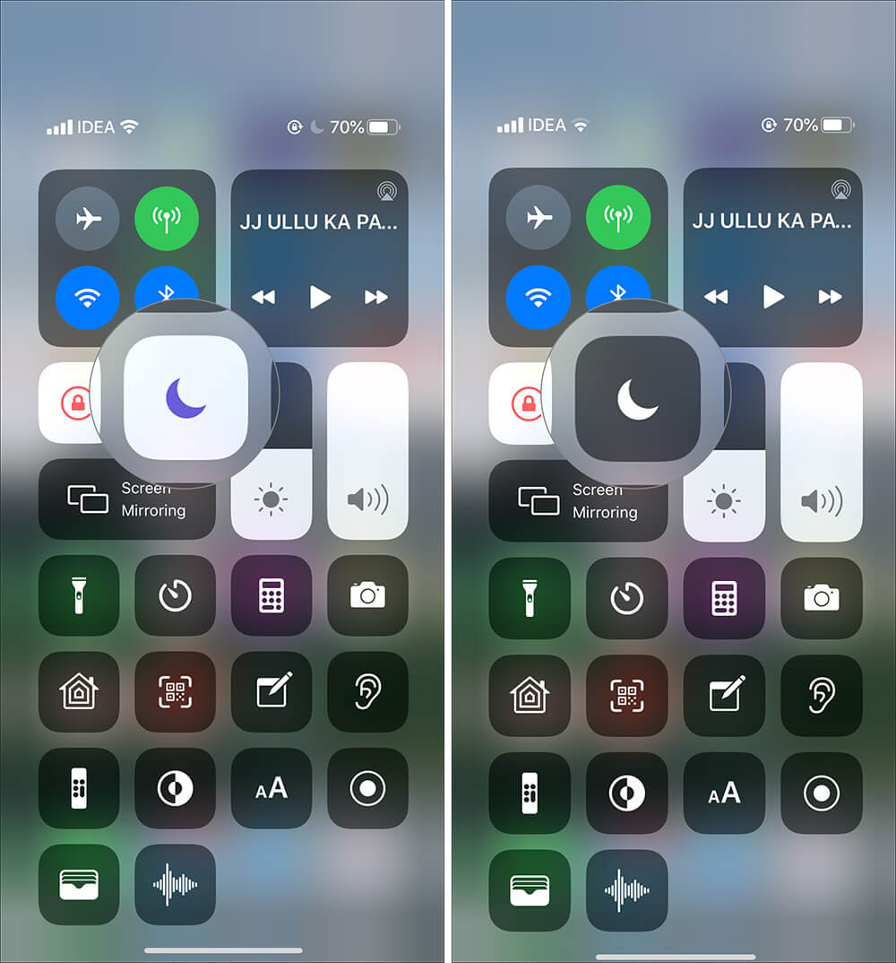 Tap on moon icon to switch off Do Not Disturb on iPhone Control Center