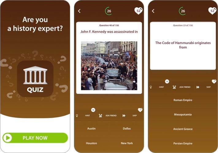 World History Trivia Quiz App für iPhone und iPad