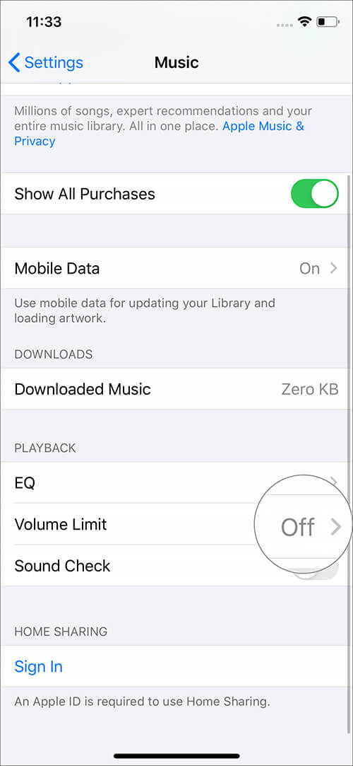 Check Volume Limit label OFF in Music Settins on iPhone