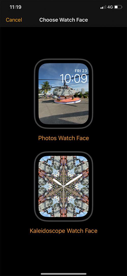 Choose regular Photo Watch Face or Kaleidoscope Watch Face on iPhone