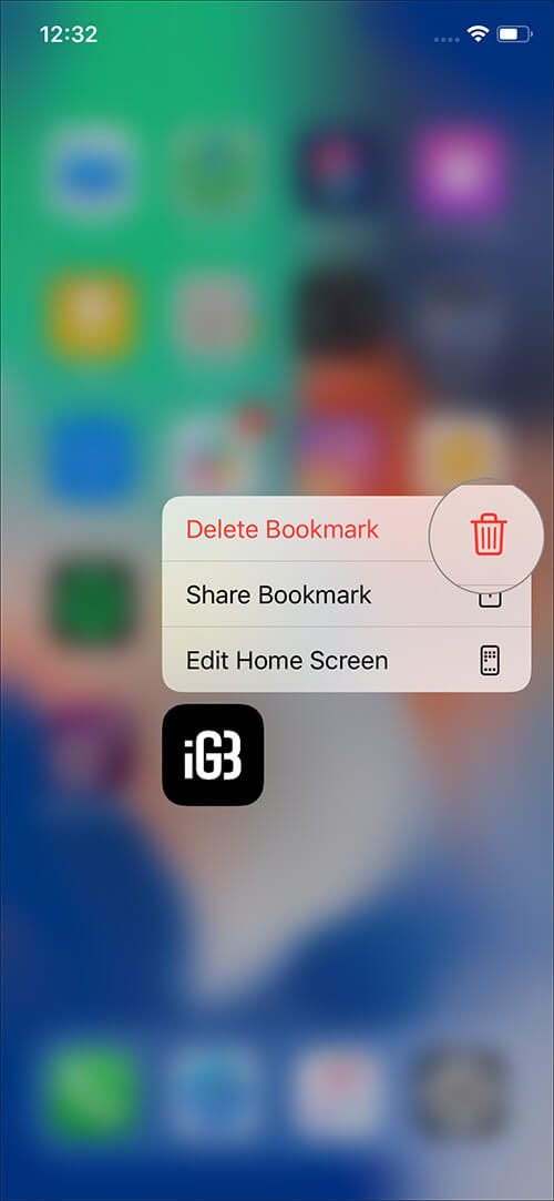 Delete Website Shortcut from Home Screen