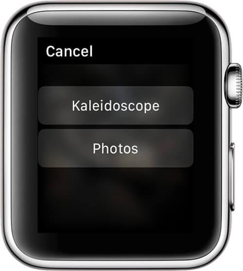 Select Kaleidoscope or Photos in Photos App on Apple Watch