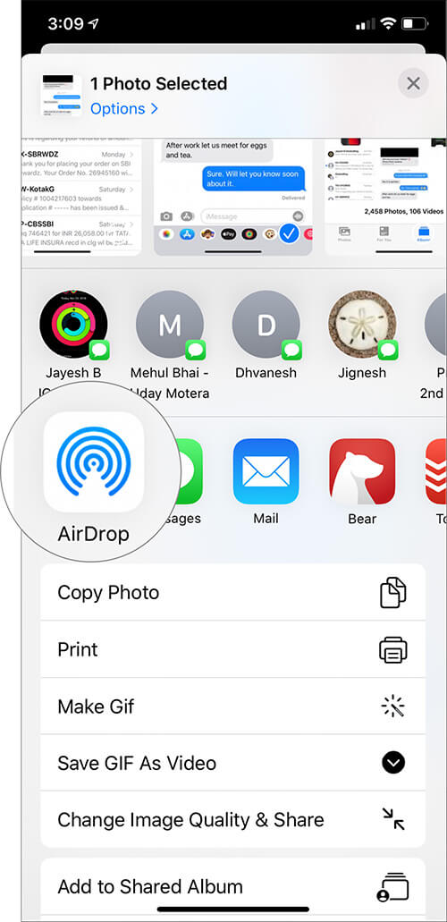 Select transfer option to print text messages on iPhone