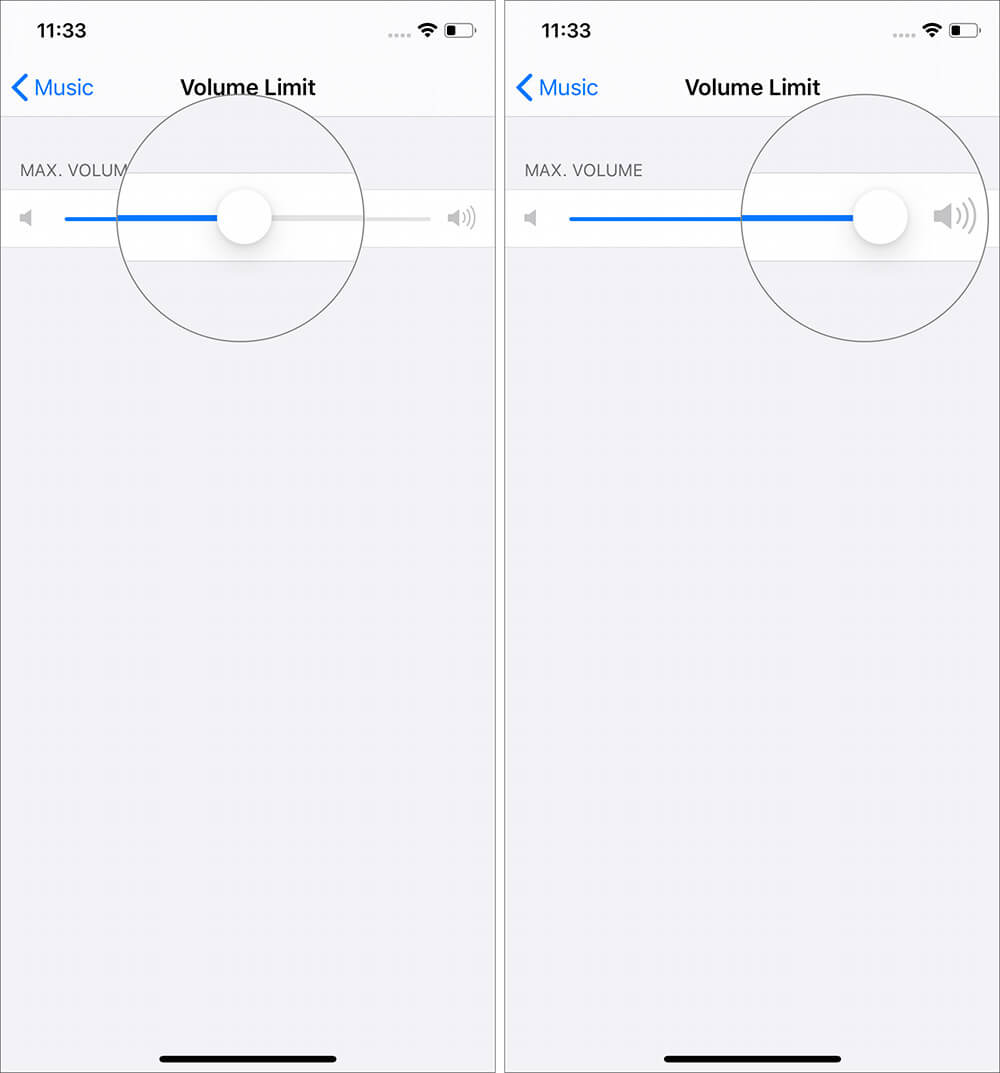 Set volume limit by Swipe right slider in Music Settins on iPhone