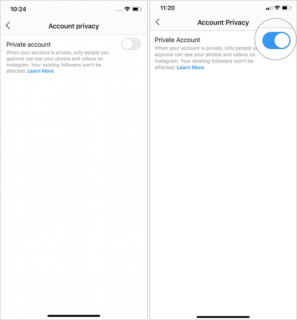 Switch ON Private Account in Instagram app on iPhone