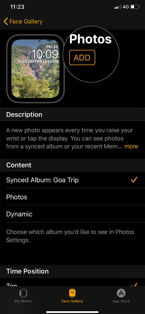 Tap on ADD to create watch face Using Photos App on iPhone