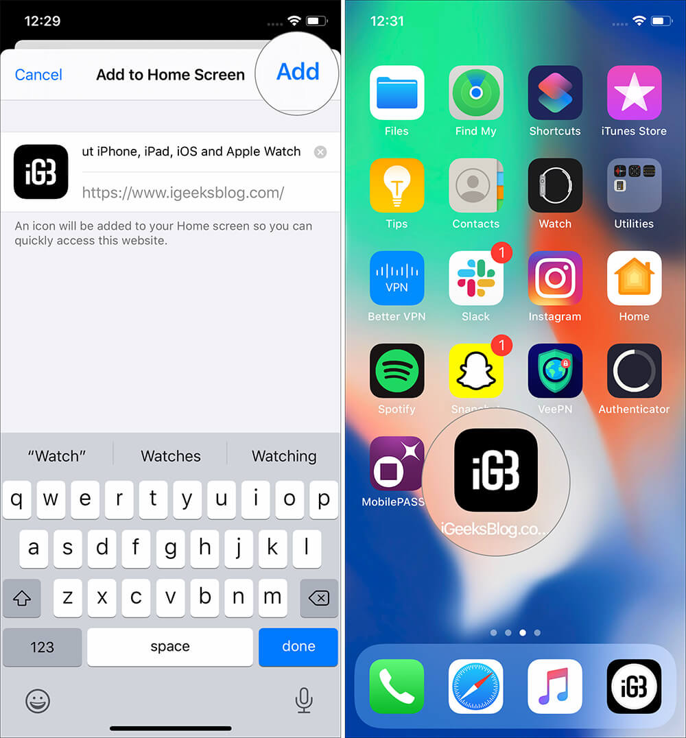 Tap on Add from top right to Create Website Shortcuts on iPhone
