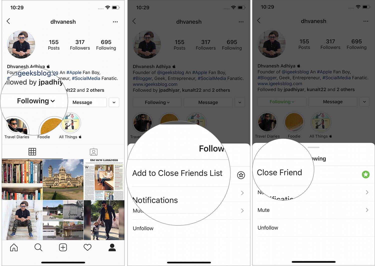Tap on Add to Close Friends List under Following in Instagram app on iPhone