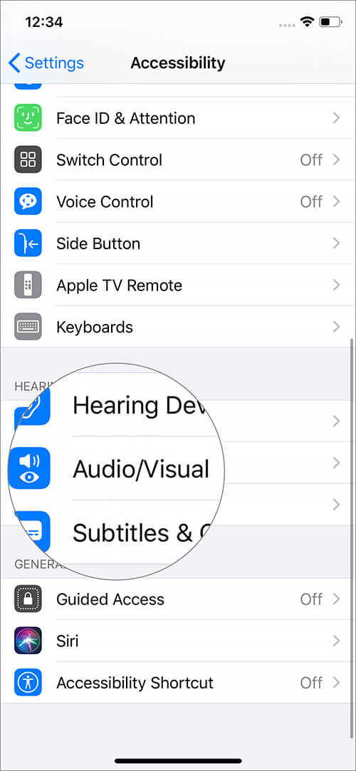 Tap on Audio Visual in Accessibility Settings on iPhone