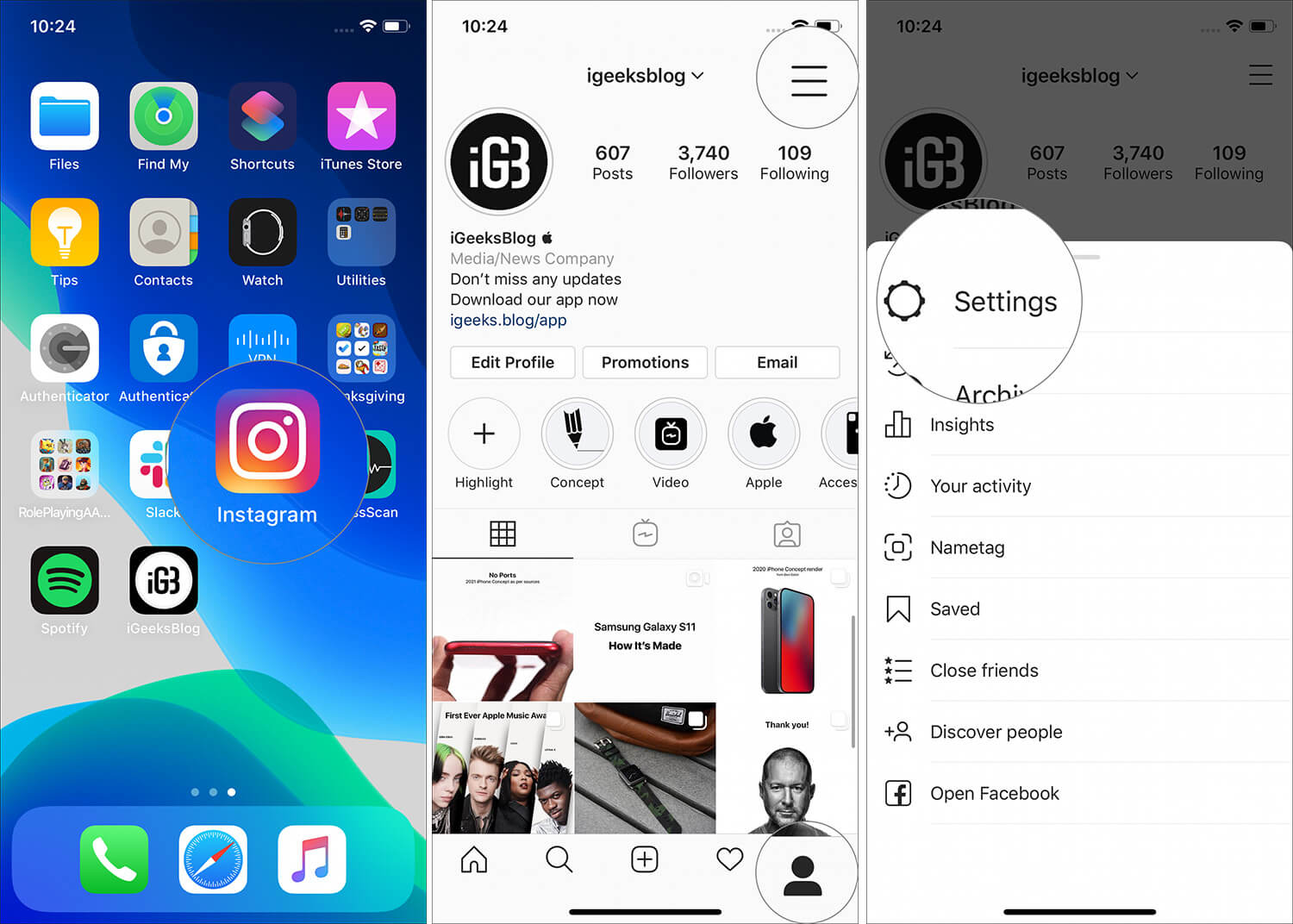 Tap on Settings and three lines icon in Instagram profile on iPhone