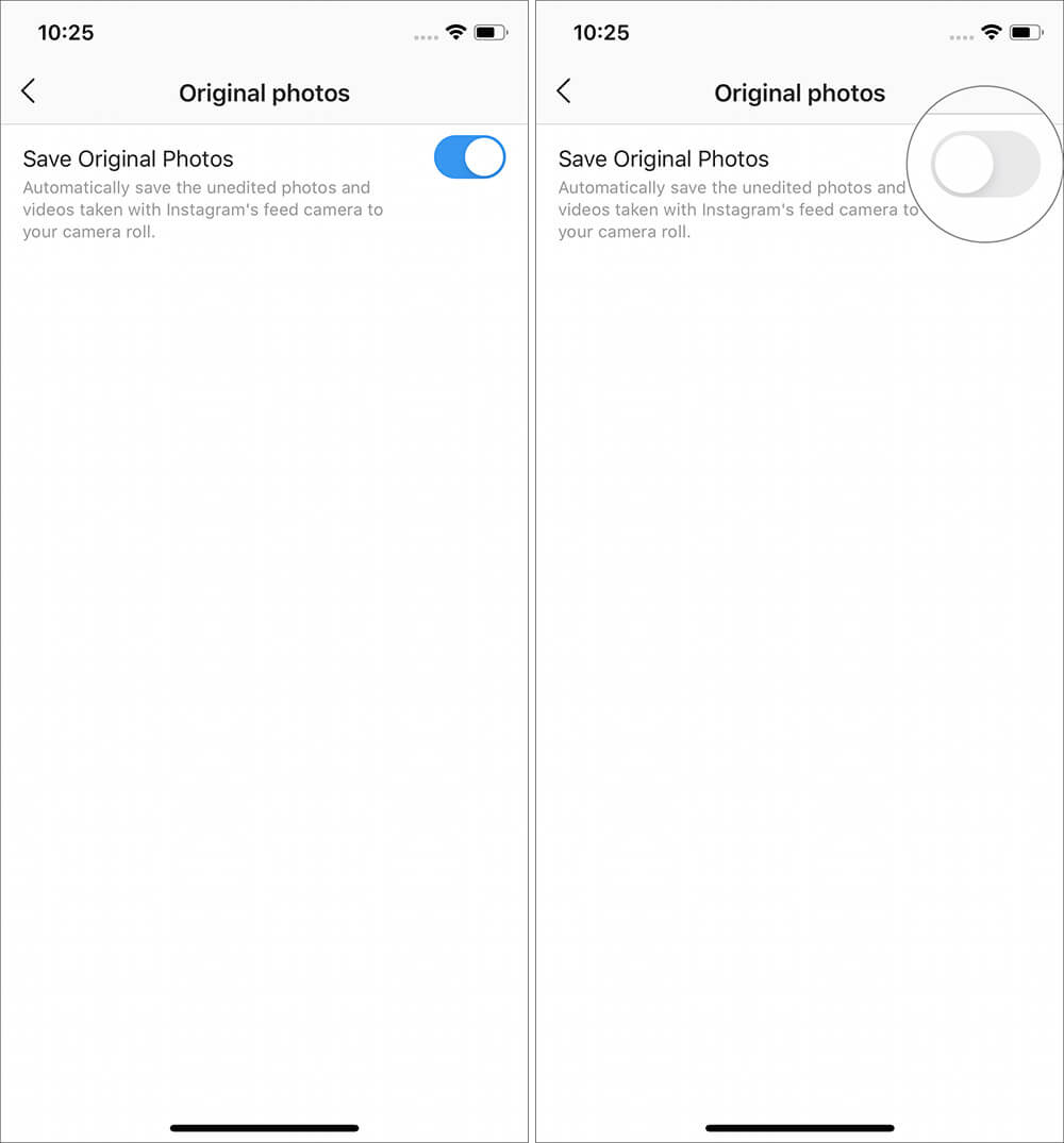 Turn OFF the toggle for Save Original Photos in Instagram app on iPhone