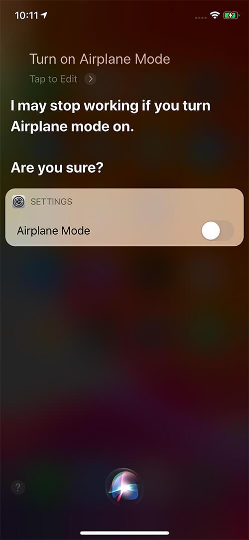 Ask Siri to Turn on Airplane Mode