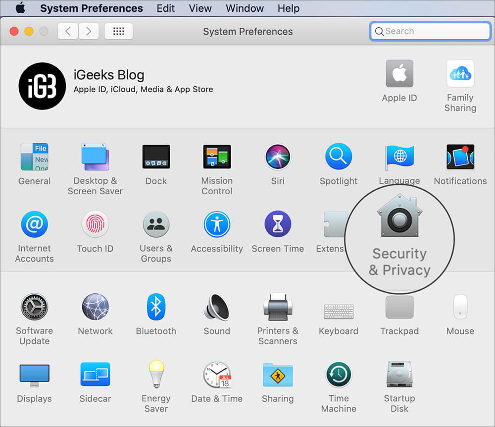 Click on Security & Privacy in Mac System Preferences