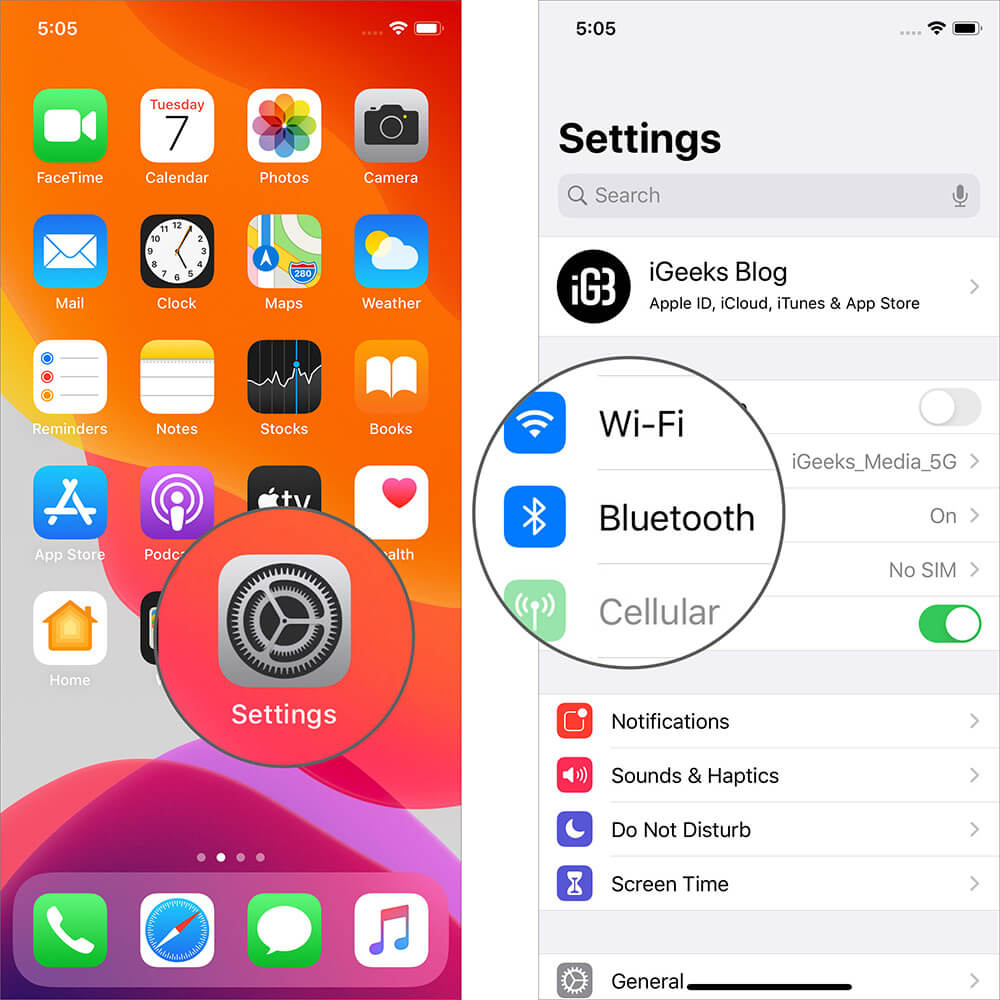 Tap on Bluetooth in iPhone Settings