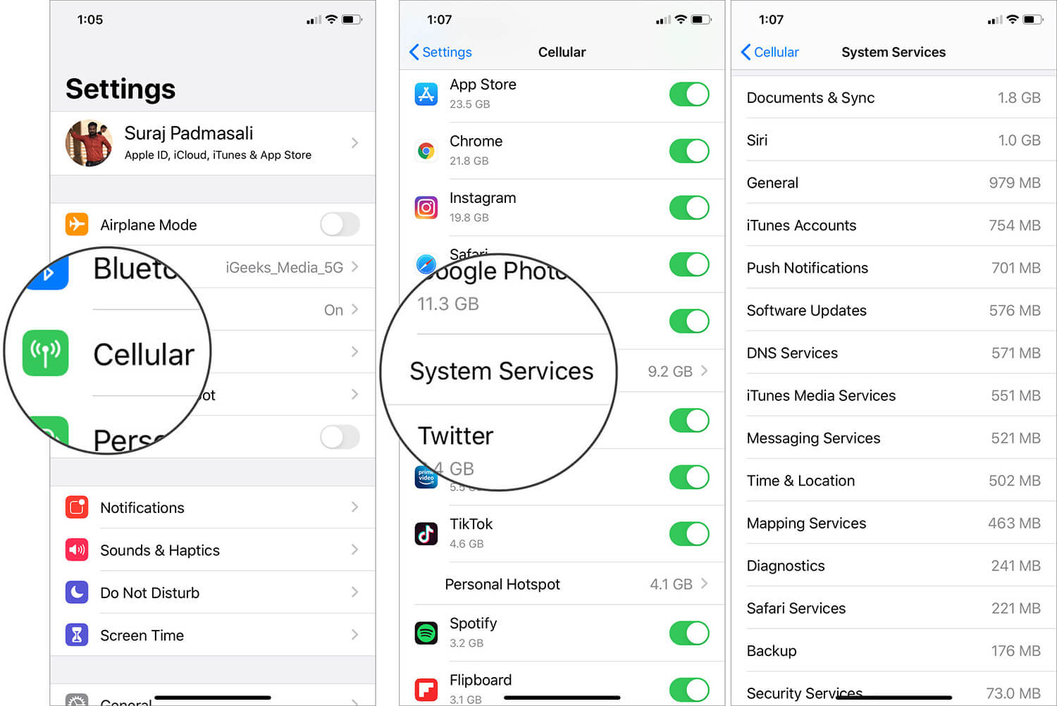 Tap on System Services to View Mobile Data Consumed on iPhone