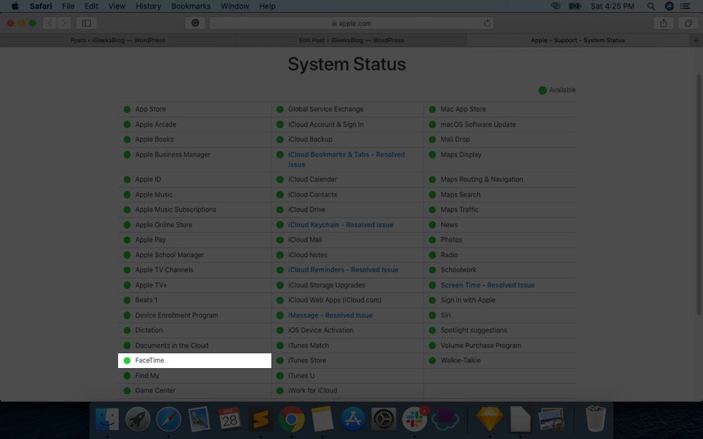 Check FaceTime Server Status on Apple's System Page