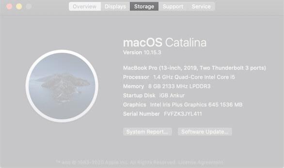 Click on Storage on Mac