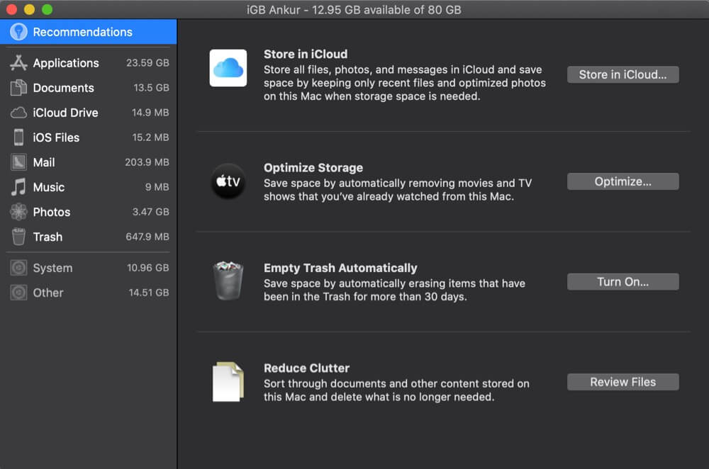 Storage Categories for Different Files on Mac