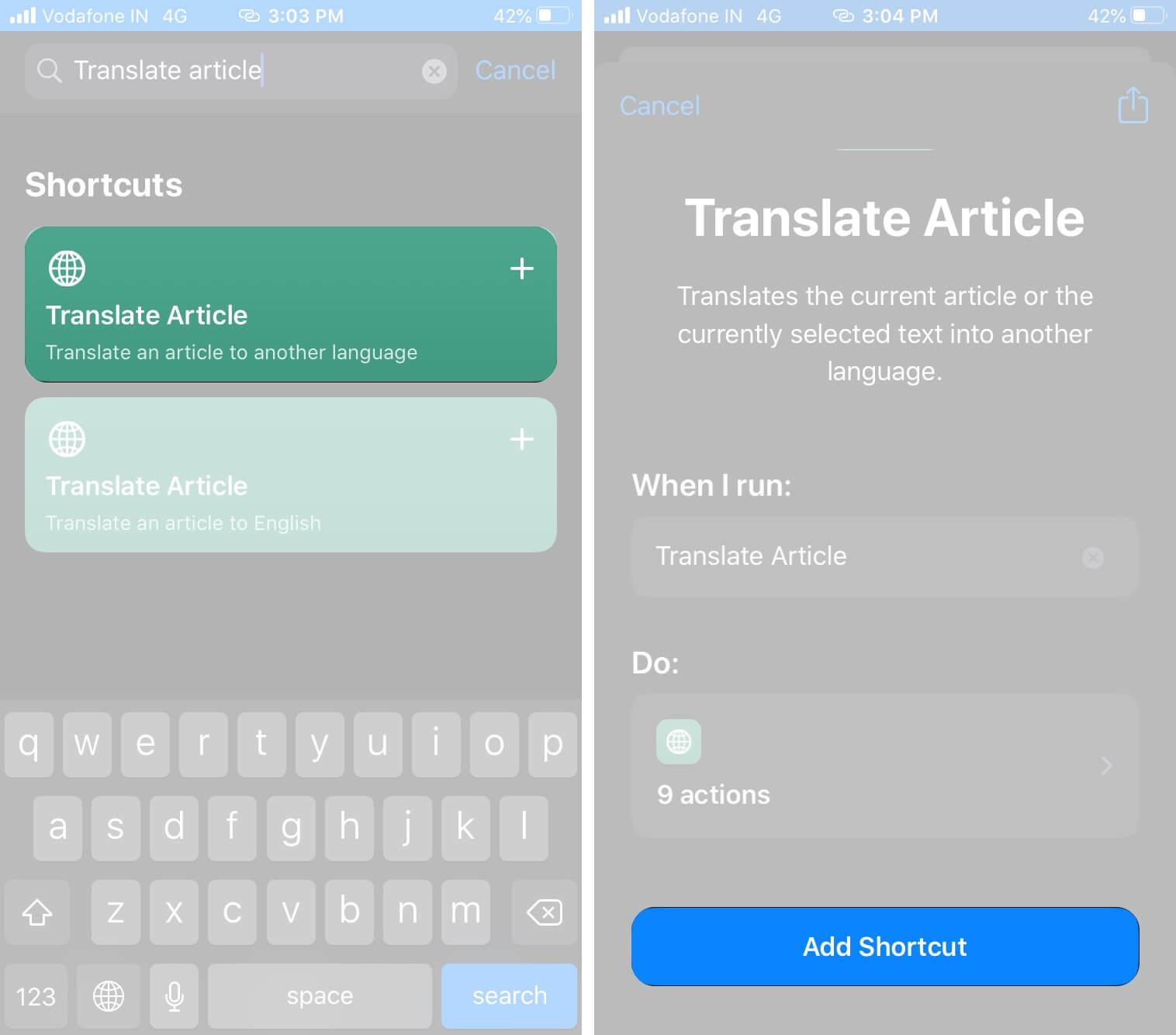 Tap on Translate Article and Then Tap on Add Shortcut