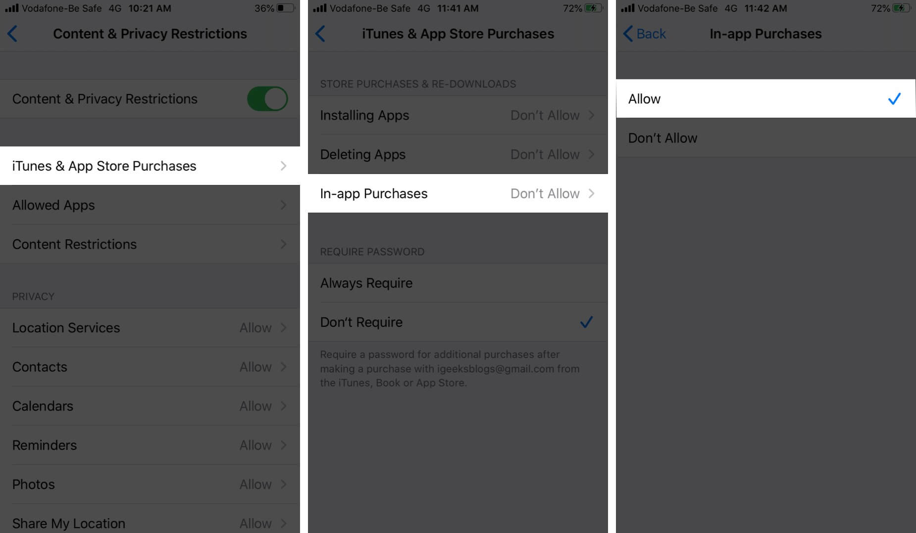 Allow In-app Purchases on iPhone