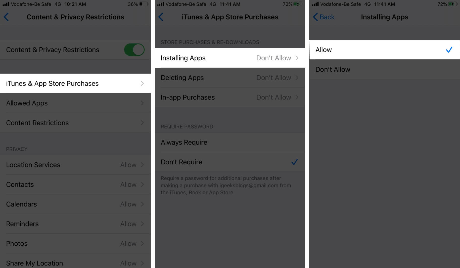 Allow Installing Apps in iTunes & App Store Purchases on iPhone