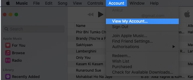 Click on Account and Select View My Account in iTunes on Mac